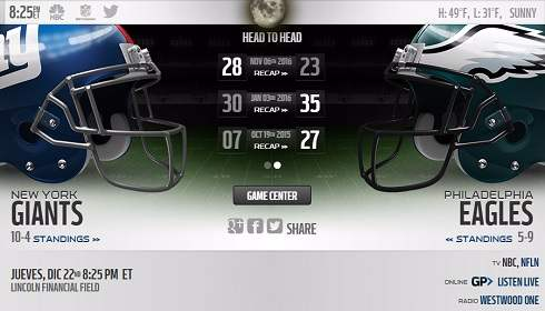 NY Giants vs Philadelphia Eagles