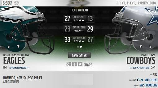 Dallas Cowboys vs Philadelphia Eagles EN VIVO Hora, Canal, Dónde ver Semana 11 NFL 2017