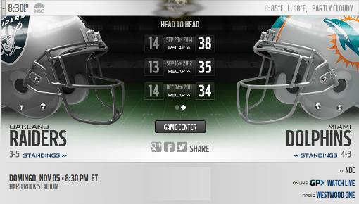 Miami Dolphins vs Oakland Raiders