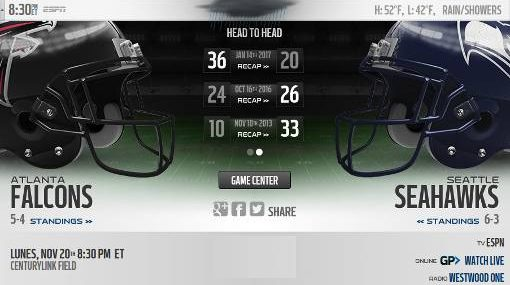 Resultado: Seattle Seahawks vs Atlanta Falcons [Vídeo Resumen] ver Semana 11 NFL 2017
