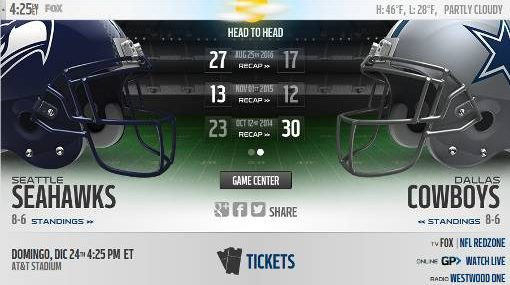 Cowboys Vs Seahawks En Vivo