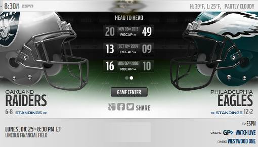 Philadelphia Eagles vs Oakland Raiders