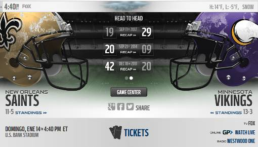Minnesota Vikings vs New Orleans Saints