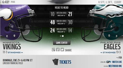 Philadelphia Eagles vs Minnesota Vikings EN VIVO Hora, Canal, Dónde ver Final Conferencia NFL 2018