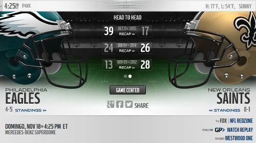 New Orleans Saints vs Philadelphia Eagles EN VIVO Hora, Canal, Dónde ver Semana 11 NFL 2018