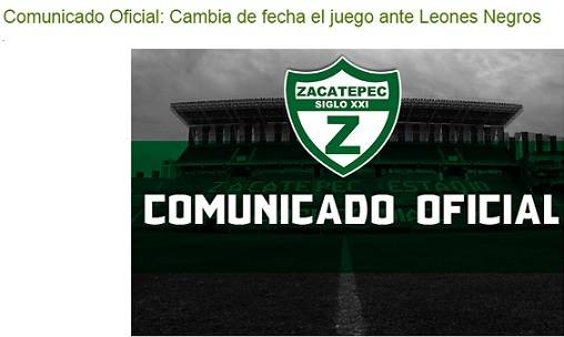 Comunicado Zacatepec vs Leones Negros