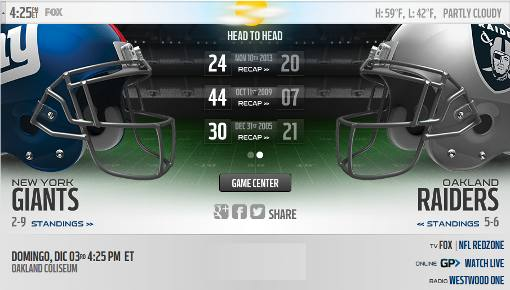 Oakland Raiders vs NY Giants