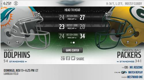 Green Bay Packers vs Miami Dolphins