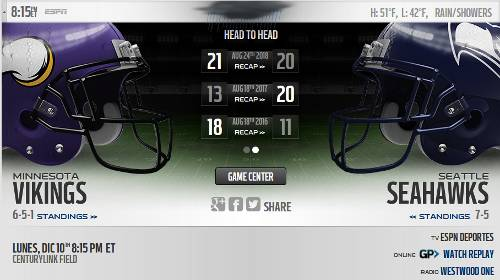 Resultado: Seattle Seahawks vs Minnesota Vikings [Vídeo Resumen] Dónde ver Semana 14 NFL 2018