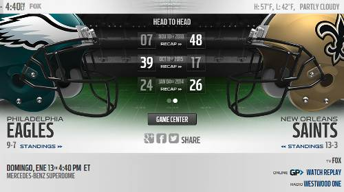 New Orleans Saints vs Philadelphia Eagles
