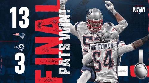 Campeón New England Patriots vs Los Angeles Rams 10-3 SuperBowl LIII 2019