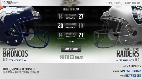 Resultado: Oakland Raiders vs Kansas City Chiefs [Vídeo Resumen] ver Semana 2 NFL 2019