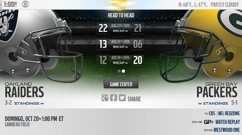 Green Bay Packers vs Oakland Raiders