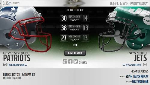 New York Jets vs New England Patriots EN VIVO Hora, Canal, Dónde ver Semana 7 NFL 2019