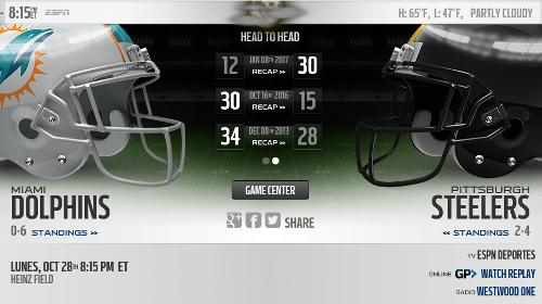 Pittsburgh Steelers vs Miami Dolphins