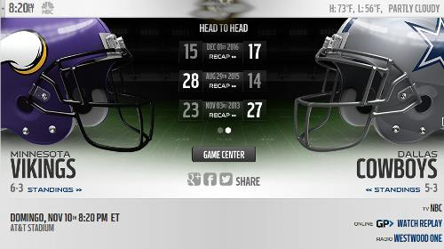 Resultado: Dallas Cowboys vs Minnesota Vikings [Vídeo Resumen] ver Semana 10 NFL 2019