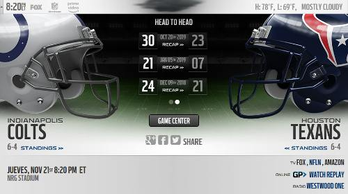 Resultado: Indianapolis Colts vs Houston Texans [Vídeo Resumen] ver Semana 12 NFL 2019