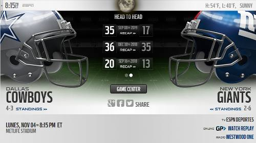 NY Giants vs Dallas Cowboys en VIVO